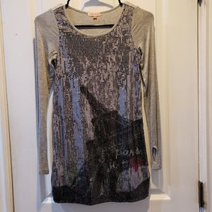 Girl's sequined long sleeves T-shirt Dress